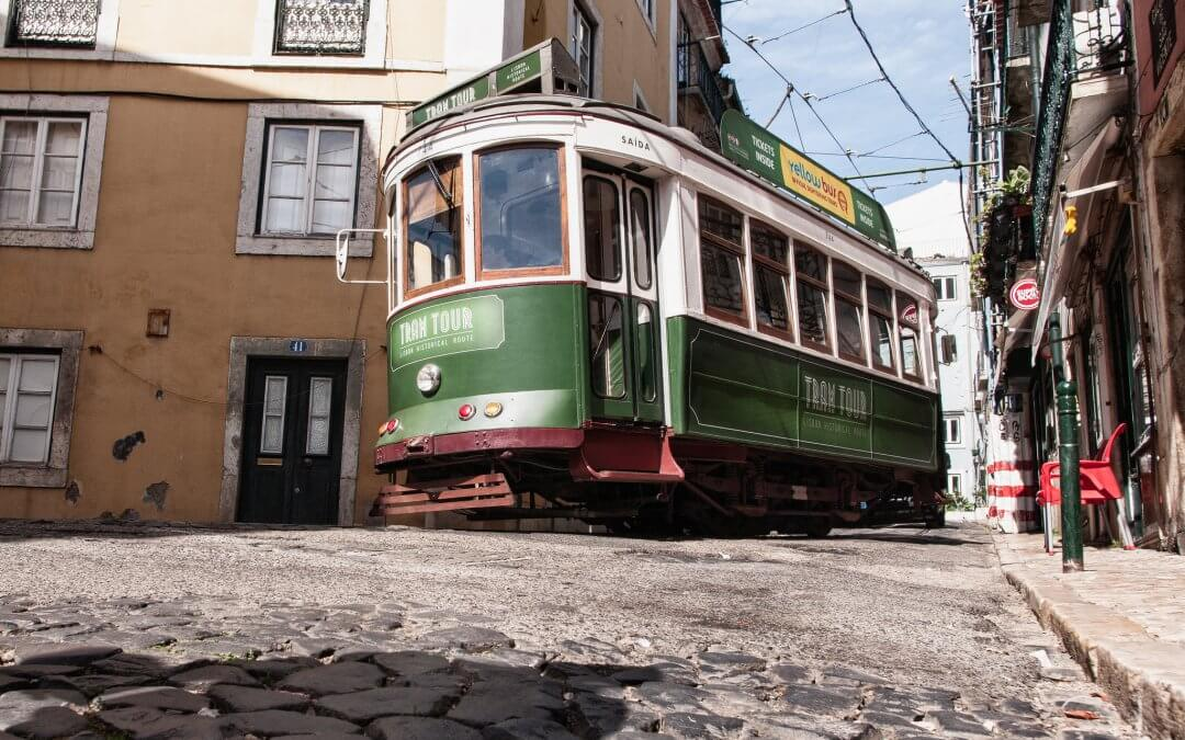Old green tram in Lisbon