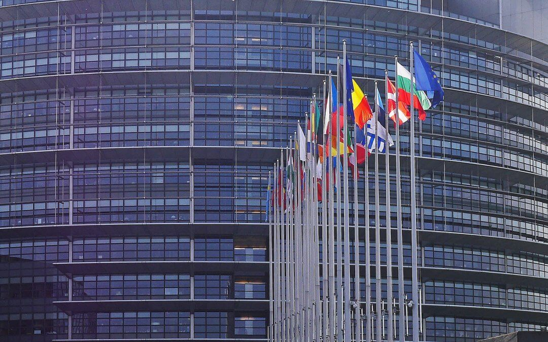European Parliament building in Strasbourg with flags of the EU member countries