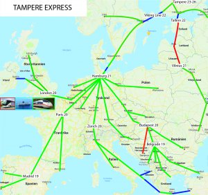 Map of the Tampere Express